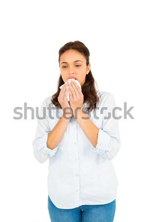 Femme moucher papier blanche mode Photo stock © wavebreak_media