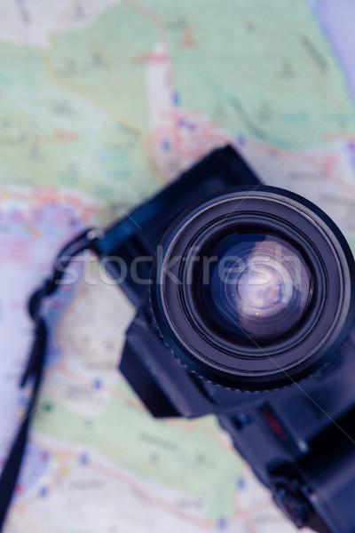 Close-up of digital camera and map Stock photo © wavebreak_media