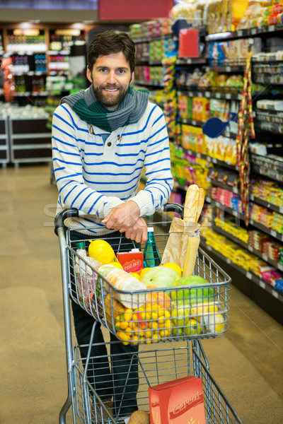肖像 笑みを浮かべて 男 食料品 セクション スーパーマーケット ストックフォト © wavebreak_media
