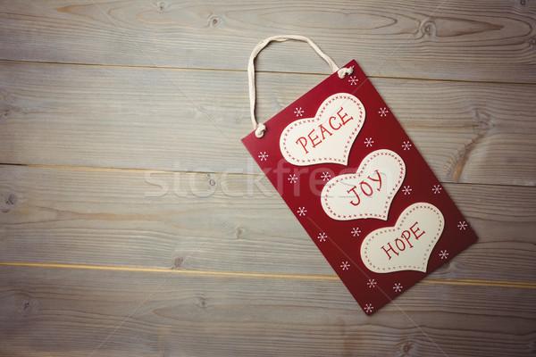 Karácsony címke béke öröm remény fa asztal Stock fotó © wavebreak_media