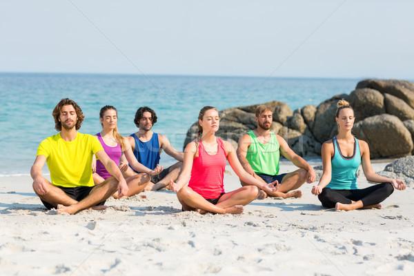 友達 瞑想 蓮 位置 海岸 ビーチ ストックフォト © wavebreak_media