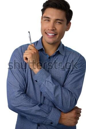 успешный бизнесмен вызывать знак белый Сток-фото © wavebreak_media