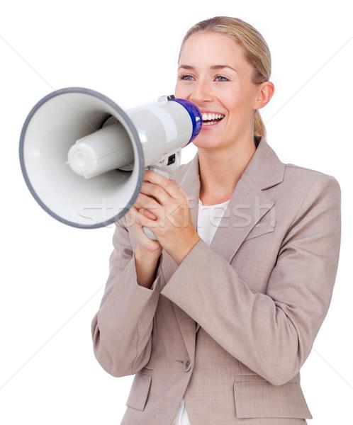 привлекательный деловая женщина мегафон изолированный белый Сток-фото © wavebreak_media