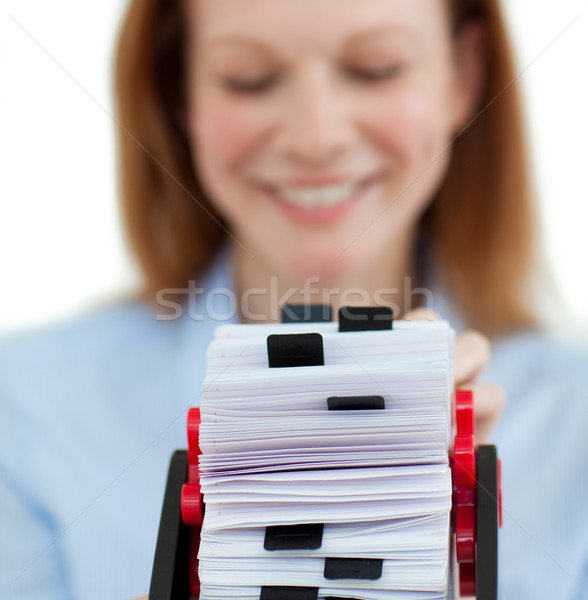 Souriant femme d'affaires carte de visite bureau Photo stock © wavebreak_media