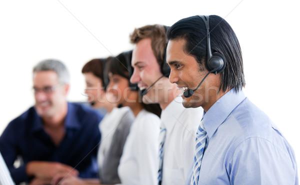 Pozytywny ludzi biznesu pracy call center biały komputera Zdjęcia stock © wavebreak_media