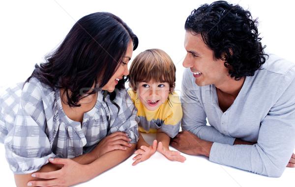 özenli genç ebeveyn oğul zemin beyaz Stok fotoğraf © wavebreak_media