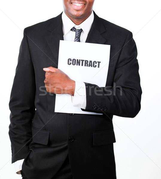 Geschäftsmann halten Vertrag lächelnd Kamera Stock foto © wavebreak_media