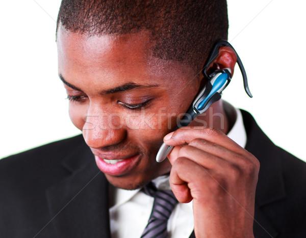 Close-up of an businessman using an bluetooth earpiece Stock photo © wavebreak_media