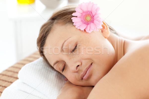 Portré elragadtatott nő virág masszázs asztal Stock fotó © wavebreak_media