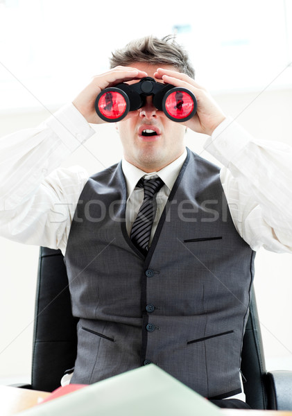 ビジネスマン 見える 双眼鏡 座って オフィス 白 ストックフォト © wavebreak_media