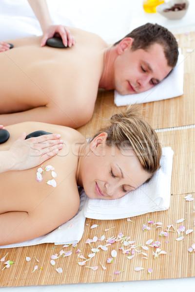 Nyugodt fiatal pér élvezi kő terápia fürdő Stock fotó © wavebreak_media