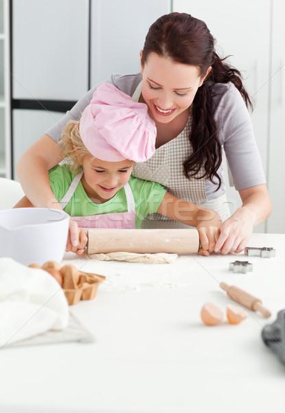 красивой матери Cute дочь скалка вместе Сток-фото © wavebreak_media