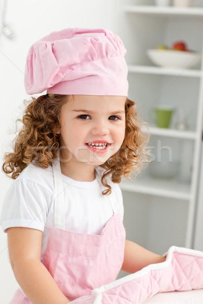 Portret cute meisje hoed handschoenen Stockfoto © wavebreak_media