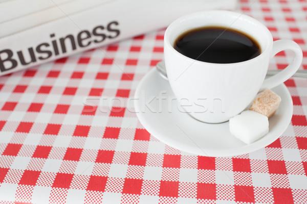 Tasse Kaffee Zeitung Tischdecke Küche Papier Stock foto © wavebreak_media