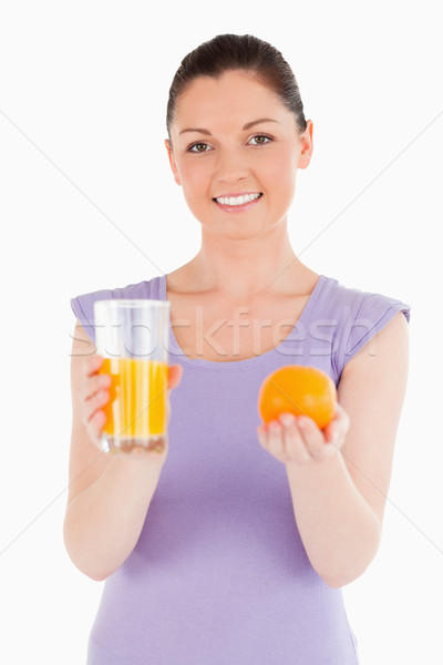 портрет оранжевый стекла апельсиновый сок Сток-фото © wavebreak_media