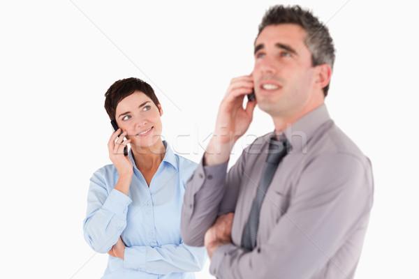 Irodai dolgozók készít telefonbeszélgetés fehér üzlet arc Stock fotó © wavebreak_media
