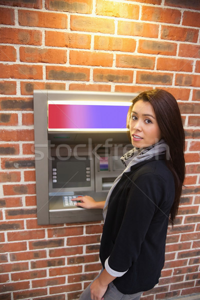 Portret vrouw cash atm geld hand Stockfoto © wavebreak_media