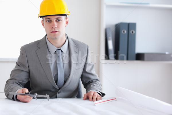 Foto stock: Arquiteto · sessão · atrás · tabela · trabalhando · plano