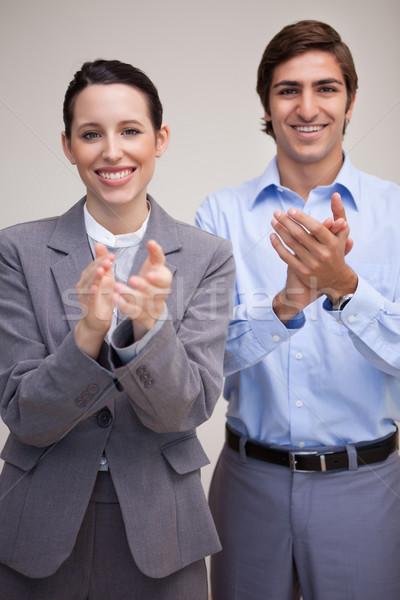 立って 小さな ビジネスチーム 拍手 オフィス 作業 ストックフォト © wavebreak_media
