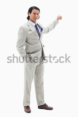 Portre yakışıklı işadamı işaret bo beyaz Stok fotoğraf © wavebreak_media