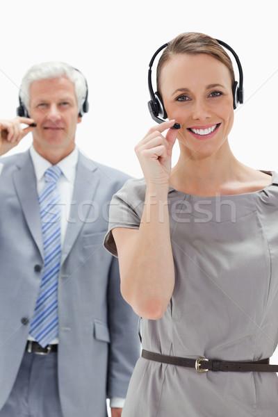 Mulher sorrindo fone cabelos brancos empresário Foto stock © wavebreak_media