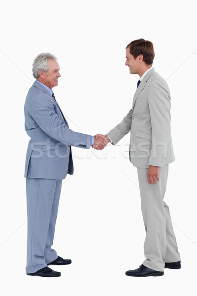 Side view of smiling tradesmen shaking hands against a white background Stock photo © wavebreak_media