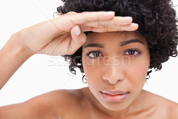 Jugendlich Hand über Augen aussehen etwas Stock foto © wavebreak_media