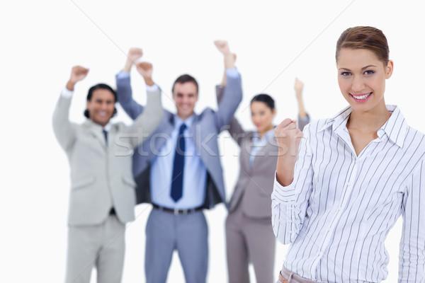 Közelkép titkárnő mosolyog ököl lelkes üzletemberek Stock fotó © wavebreak_media
