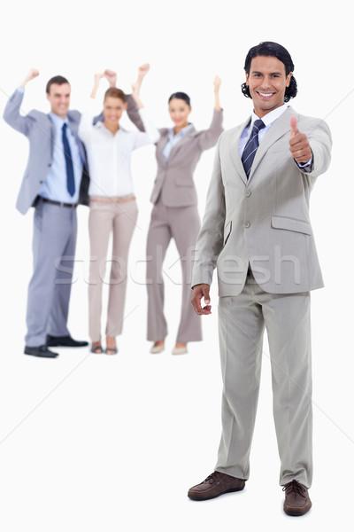 Empresário sorridente pessoas atrás Foto stock © wavebreak_media