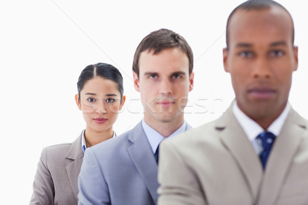 Big close-up of serious colleagues in a single line looking straight with focus on the woman Stock photo © wavebreak_media