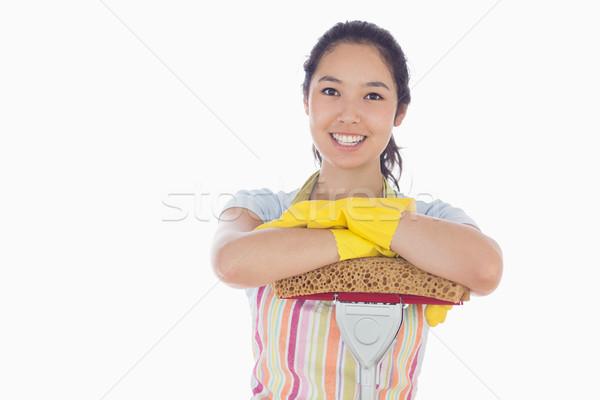 Gelukkig vrouw handschoenen schort Stockfoto © wavebreak_media