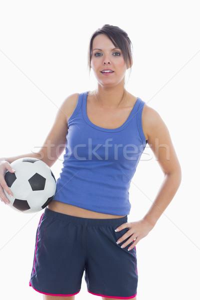 Porträt Sportbekleidung Fußball posiert weiß Stock foto © wavebreak_media