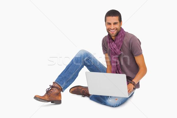 Gelukkig man sjaal vergadering vloer Stockfoto © wavebreak_media