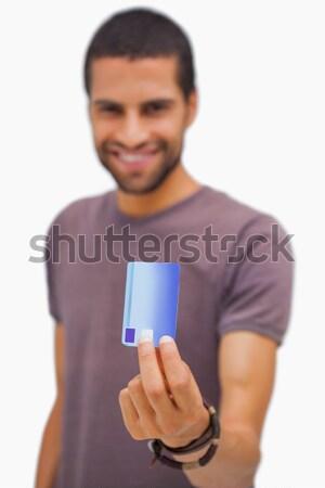 Glimlachend man creditcard witte portret Stockfoto © wavebreak_media