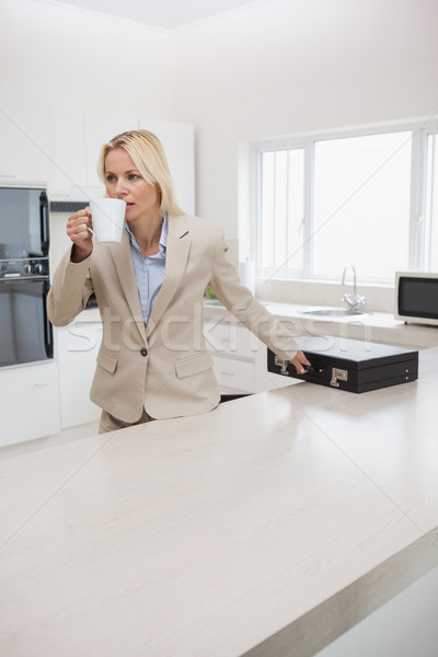Well dressed woman drinking coffee while holding briefcase in ki Stock photo © wavebreak_media