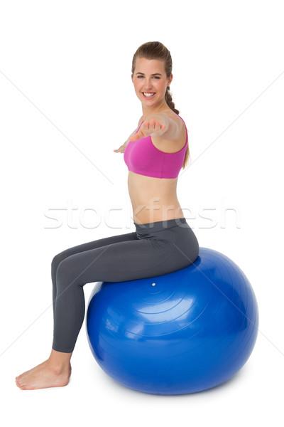 S'adapter jeune femme fitness balle Photo stock © wavebreak_media