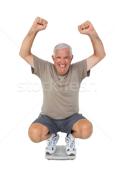 Portre kıdemli adam ağırlık ölçek Stok fotoğraf © wavebreak_media