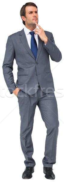 Denken zakenman aanraken kin witte business Stockfoto © wavebreak_media