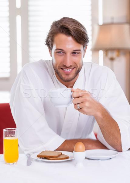 Knappe man ontbijt badjas home keuken koffie Stockfoto © wavebreak_media