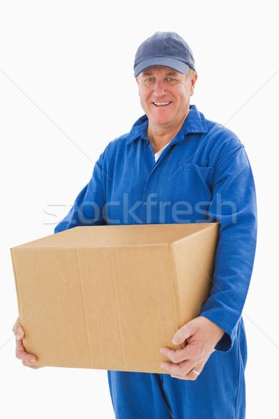 Glücklich halten Karton weiß Feld Stock foto © wavebreak_media