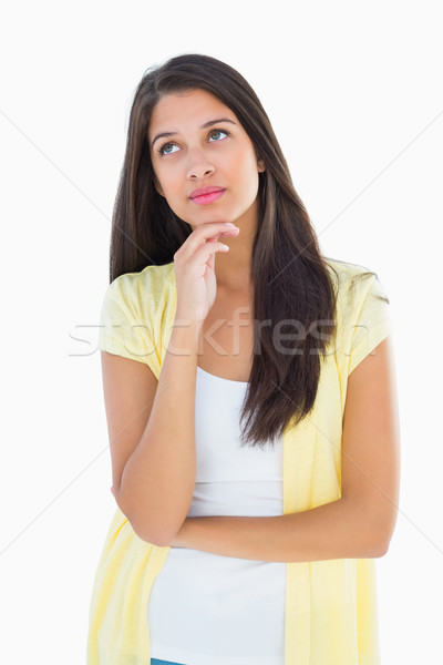 Szczęśliwy przypadkowy kobieta myślenia strony podbródek Zdjęcia stock © wavebreak_media