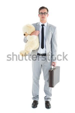 красивый бизнесмен портфель Тедди белый Сток-фото © wavebreak_media