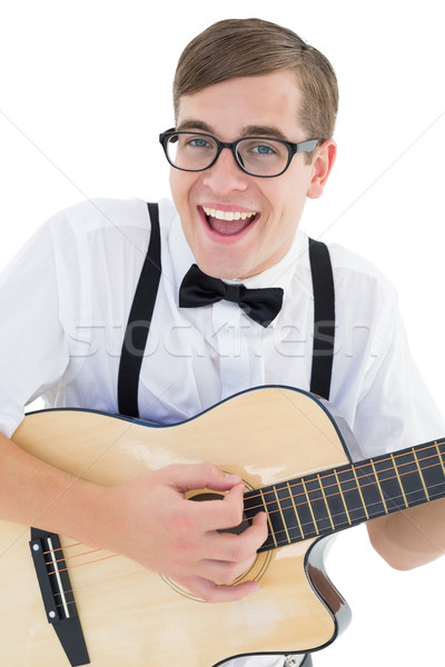 Nerdy hipster playing the guitar Stock photo © wavebreak_media