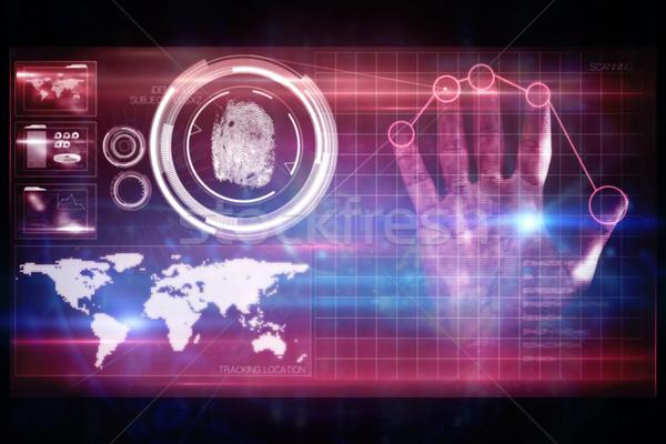 Pink technology hand print interface design Stock photo © wavebreak_media