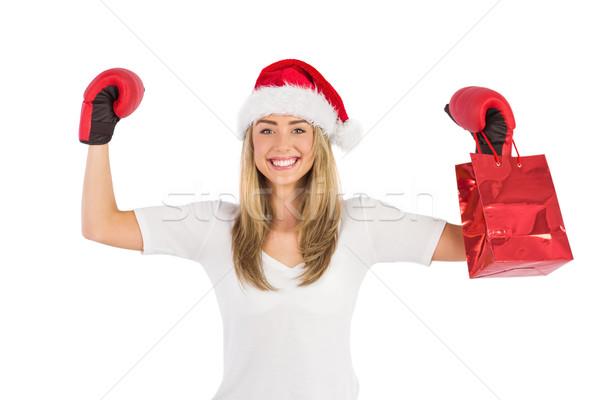 Gants de boxe blanche heureux portrait Photo stock © wavebreak_media