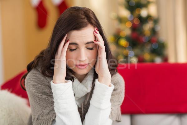 Brunette hoofdpijn christmas dag home woonkamer Stockfoto © wavebreak_media
