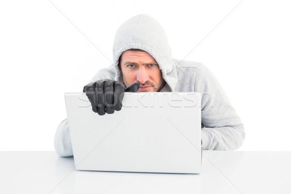 Stock fotó: Hacker · laptopot · használ · arculat · fehér · férfi · technológia