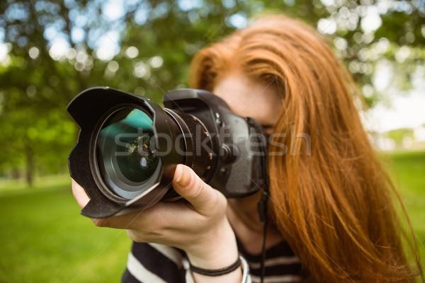 Női fotós park közelkép technológia gyep Stock fotó © wavebreak_media