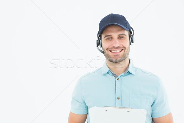 Stock foto: Männlich · Kurier · Mann · tragen · Headset · Porträt
