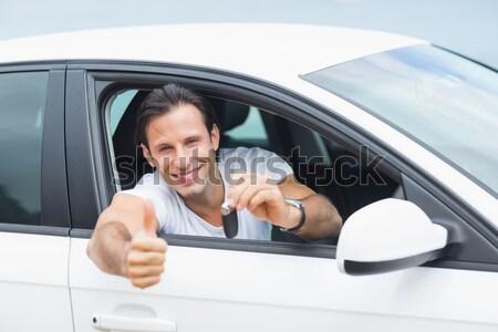 笑顔の女性 車のキー 新しい車 ショールーム ストックフォト © wavebreak_media